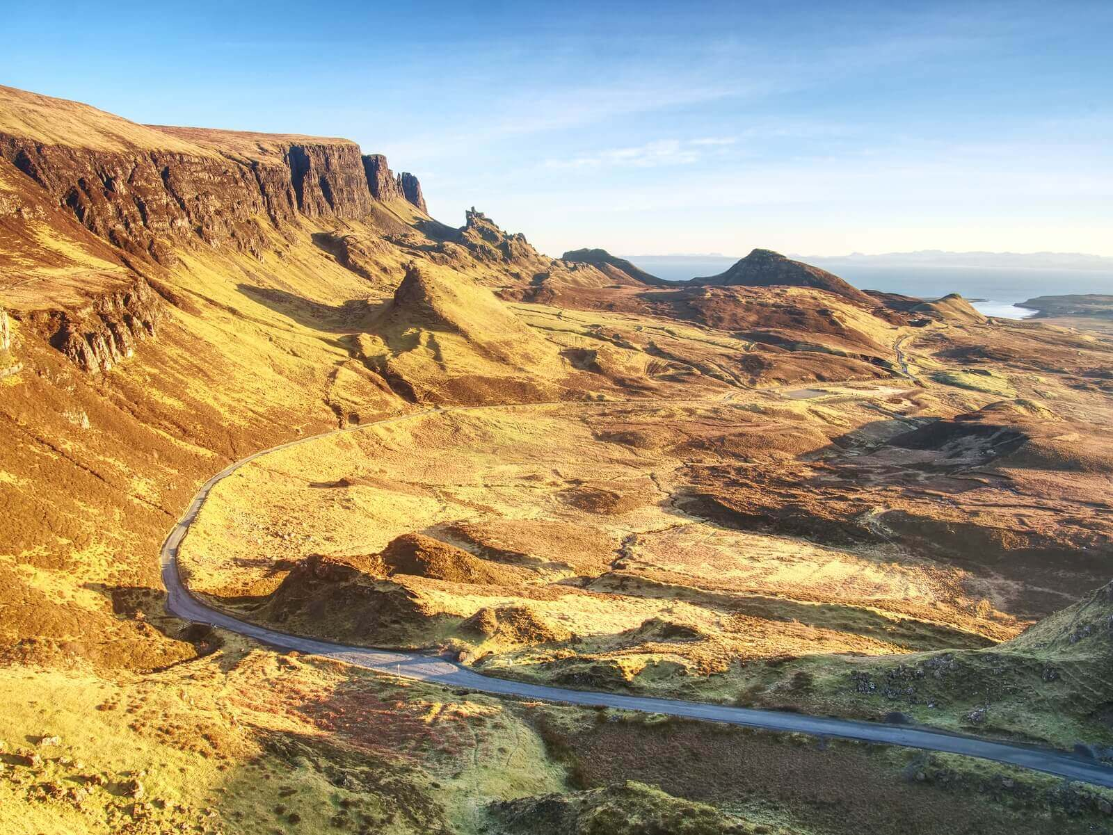 Scenic routes through empty Scottish countryside on Isle of Sky road