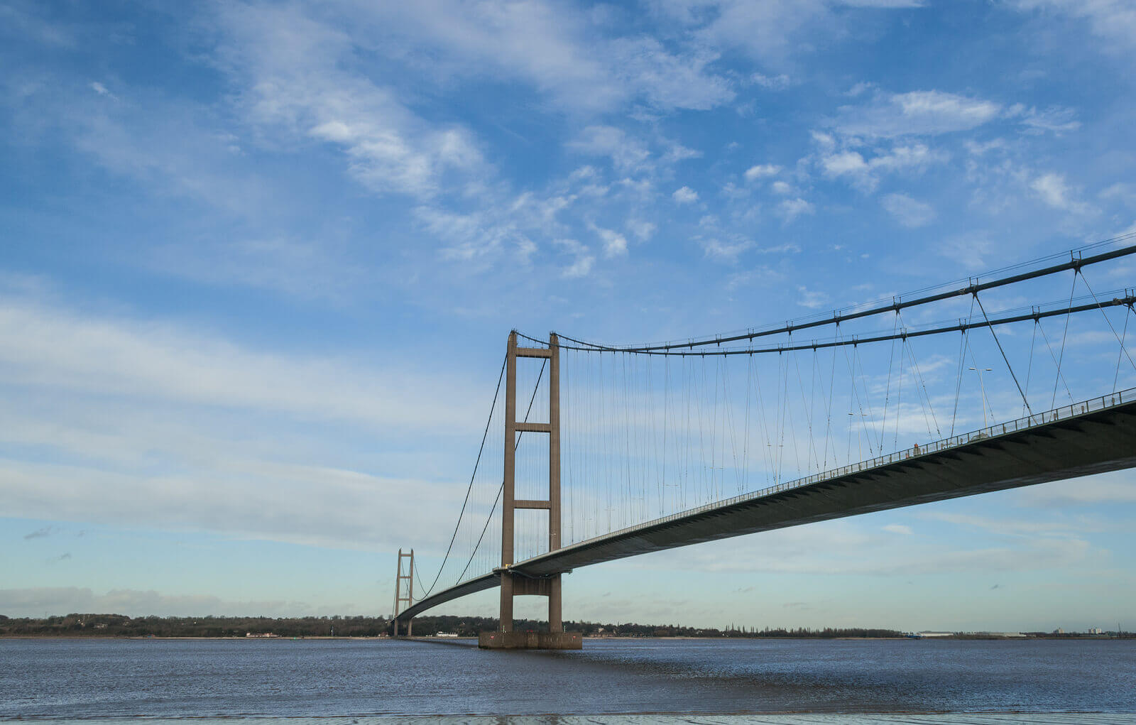 The Humber Bridge over the river Humber, an imposing site on a scenic route