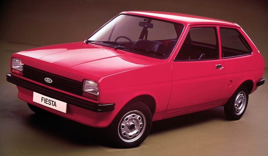 Original red Ford Fiesta - the new model is a much bigger car!
