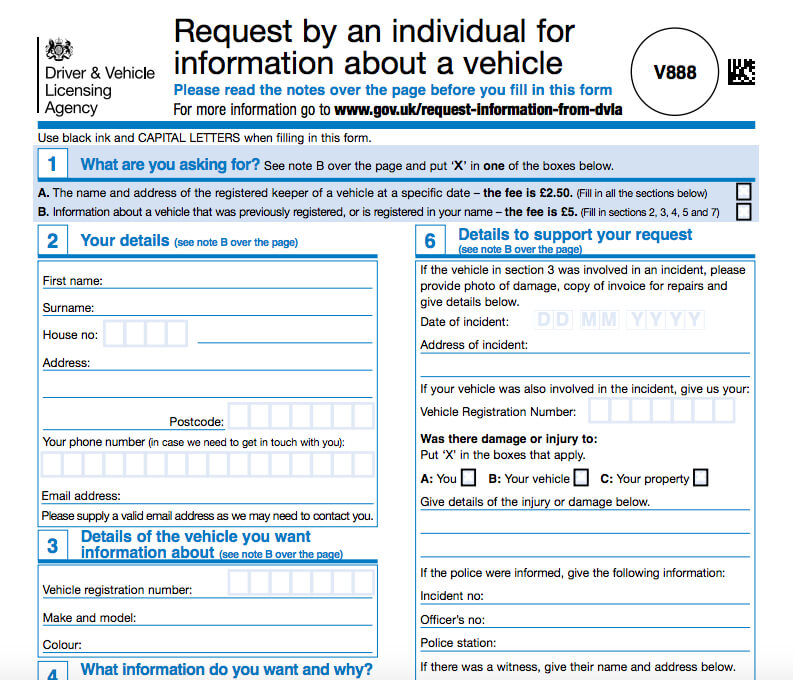 DVLA V888 form to help a driver recover a lost car service history