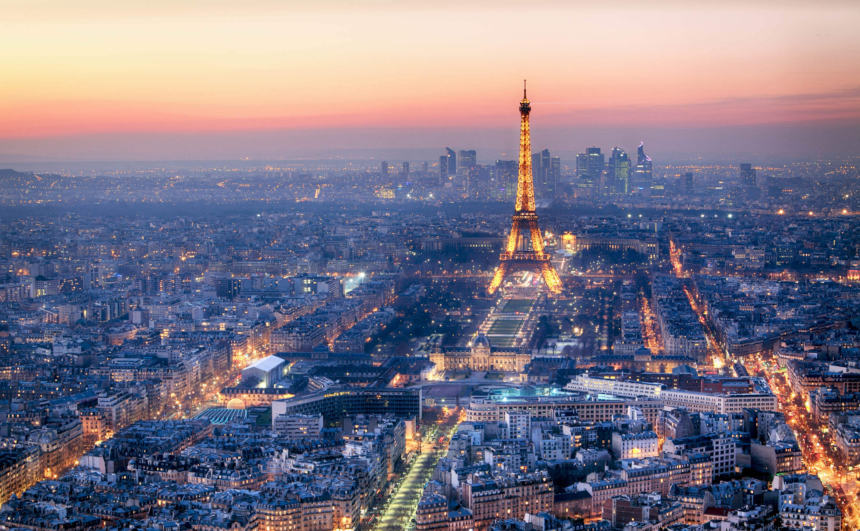 Arial shot of the Eifel Tower in Paris, which is in the EU, at sunset