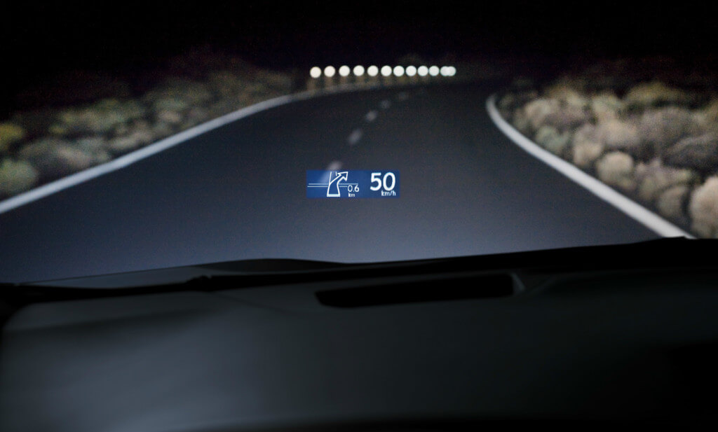 Speedometer displayed on a heads-up display, one of the cooler car safety features