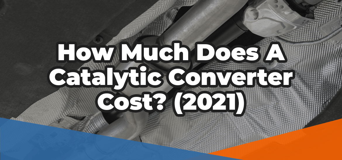 How much does a catalytic converter cost in white text over the image of a car exhaust manifold