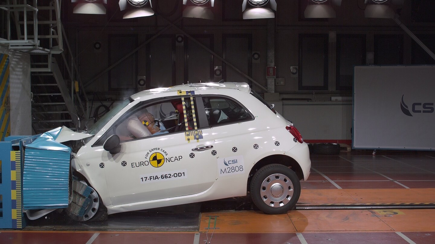 White car crashed as part of a Euro Ncap safety test