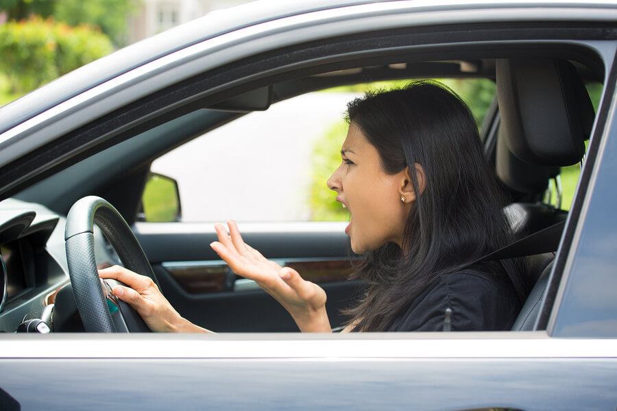 woman angry at annoying drivers
