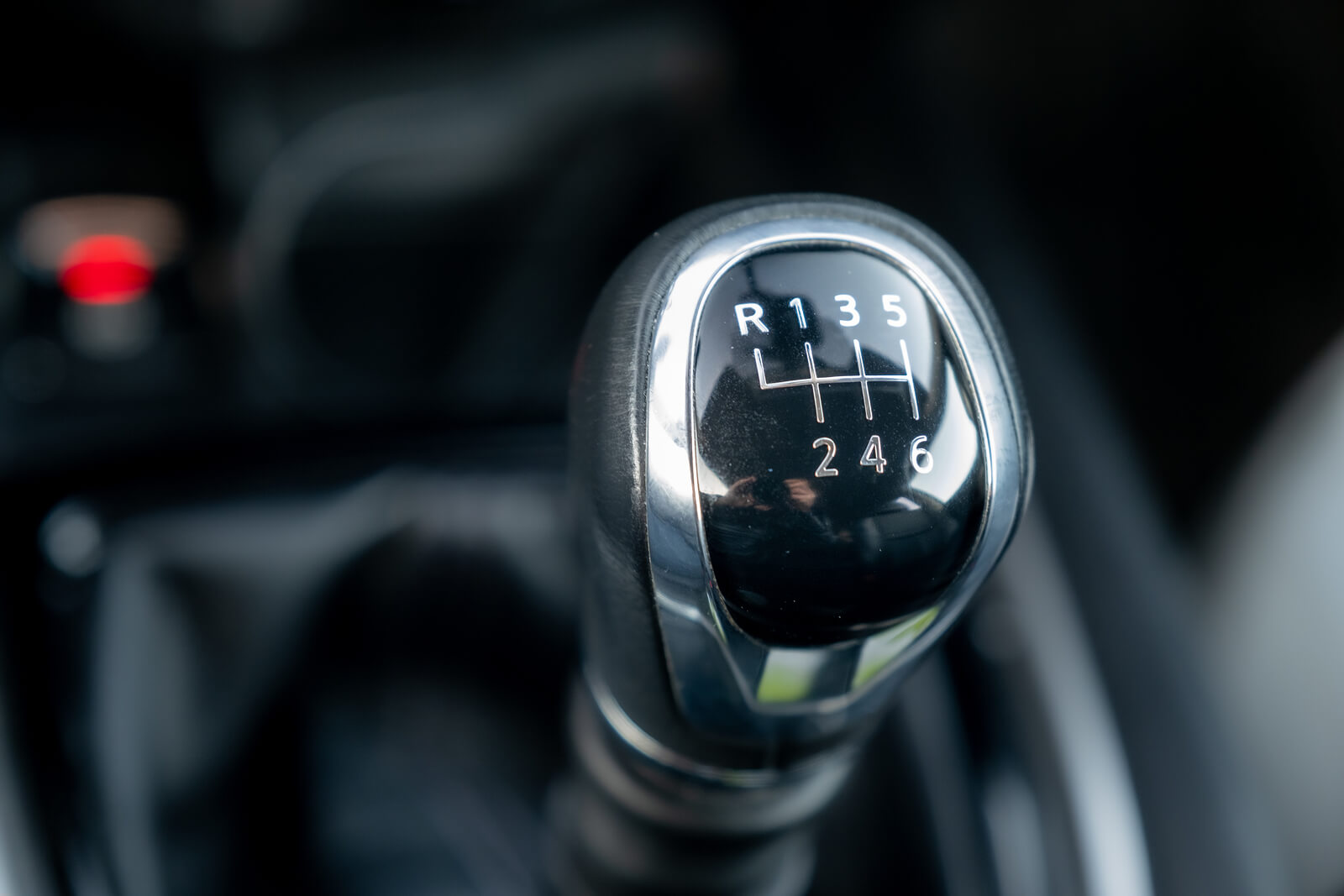 Manual gear stick inside a car