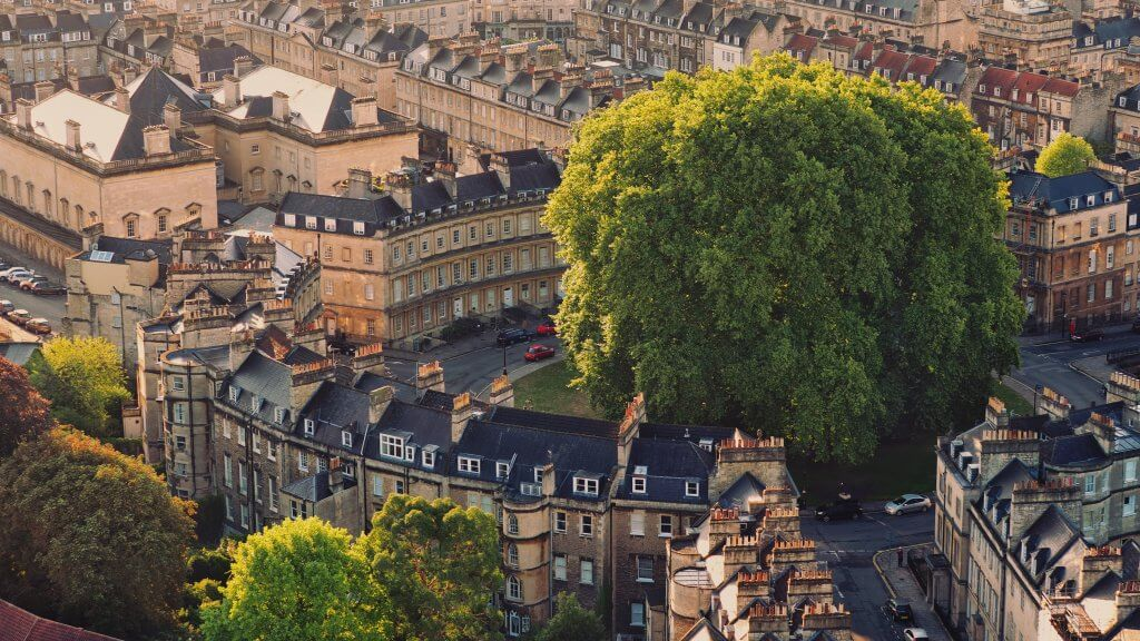 Ariel view of Bath during Autumn including drivers on their road trip
