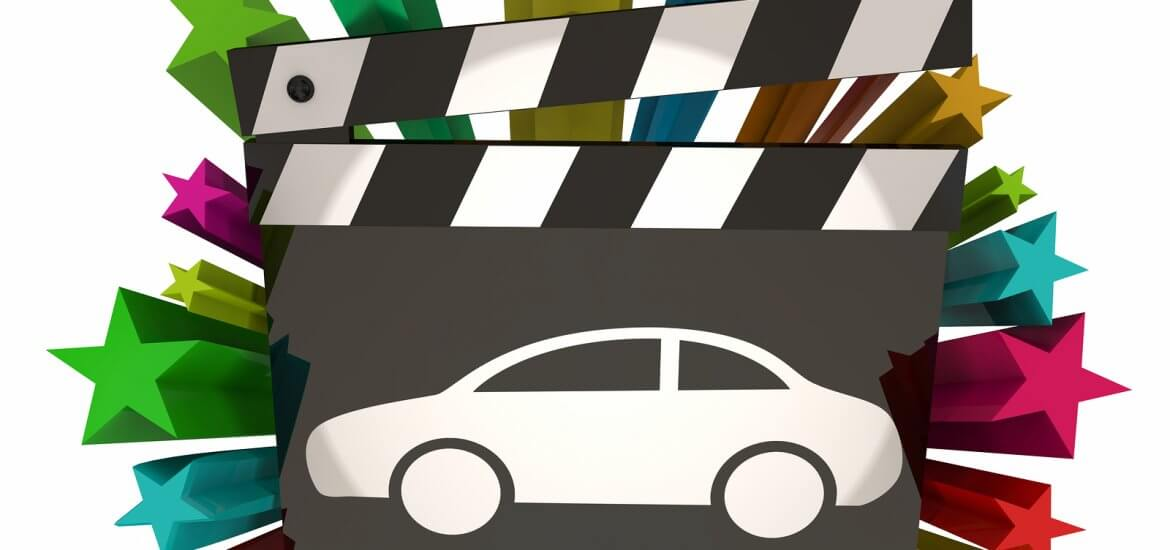 Movie clapperboard showing famous cars