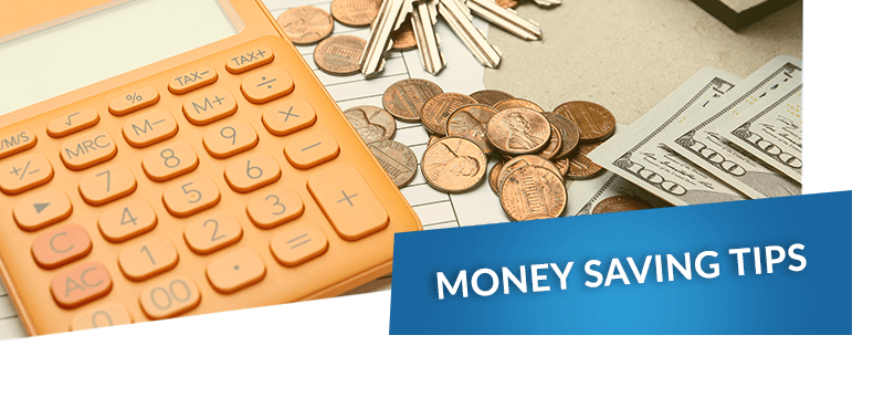 Money saving tips over an image of a calculator, keys and assorted change on a desk