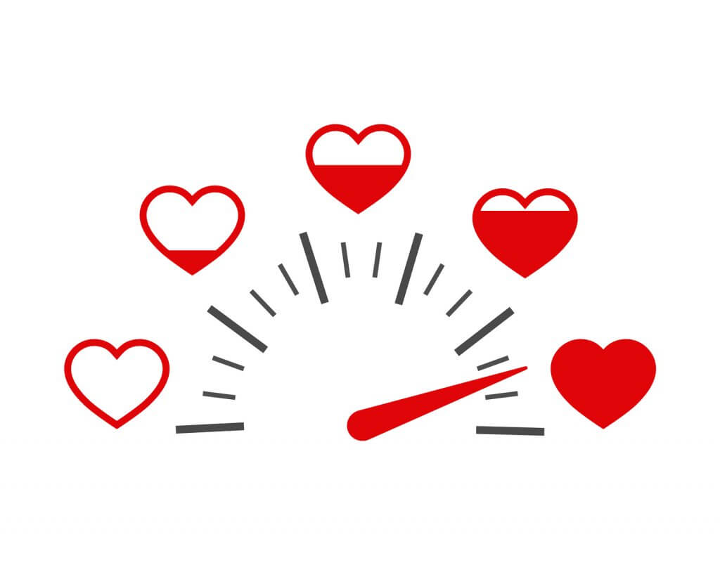 Speedometer of love. Valentines Day gift concept