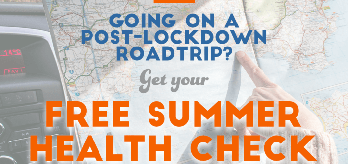 going on a post-lockdown roadtrip? Get your free summer health check in blue and orange text over a background image of a road map