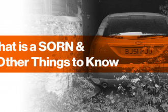 old ford focus sat abandoned in garage, black and white image with orange rectangle with 'what is a SORN and 9 other things to know' in white text written inside