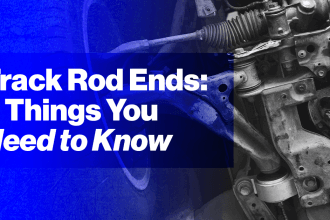 track rod ends: 8 things you need to know in white text on purple background with image of track rod end and car suspension in background