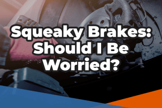 Image of brake repairs with the words squeaky brakes: should I be worried in white over the top