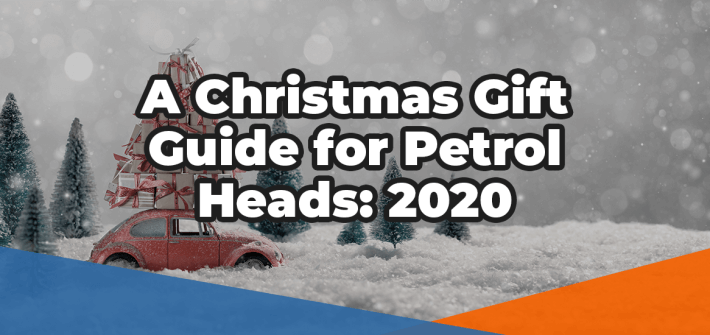A christmas gift guide for petrol heads 2020 over a festive background