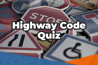 Highway code quiz in white over various road traffic signs