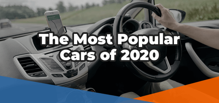 The most popular cars of 2020 white text over an image of a car driver navigating using their hands-free mobile phone