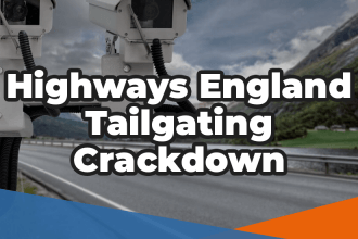 Highways England Tailgating crackdown in white over an image of cameras above a motorway