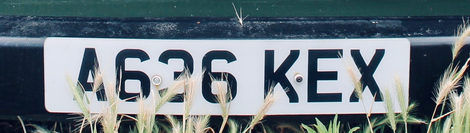 white uk licence plate