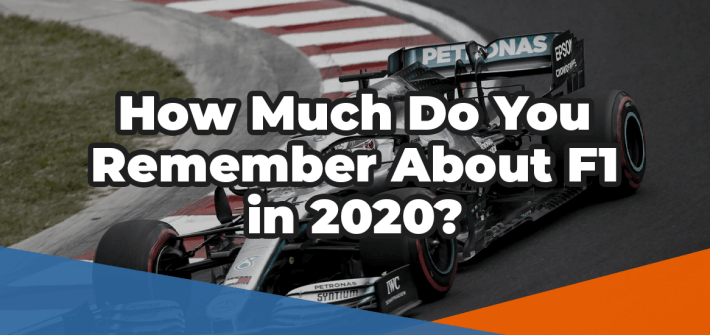 How much do you remember about F1 in 2020 in white text over an image of a Mercedes F1 car cornering