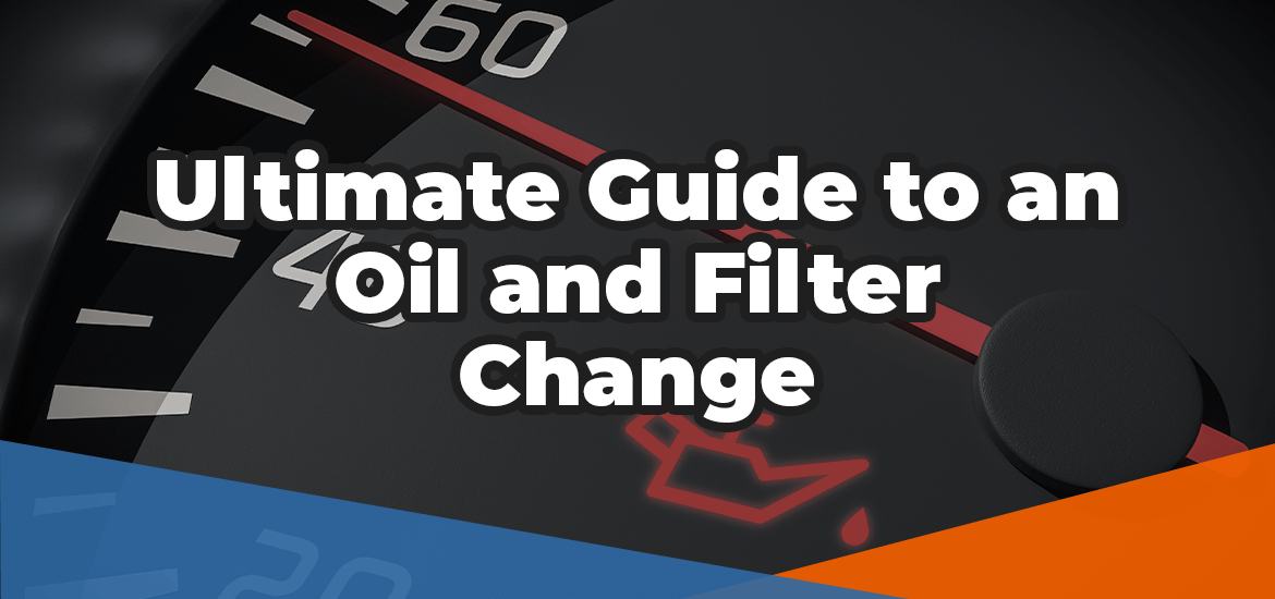Ultimate guide to an oil and filter change in white superimposed over a car dashboard and oil change warning light