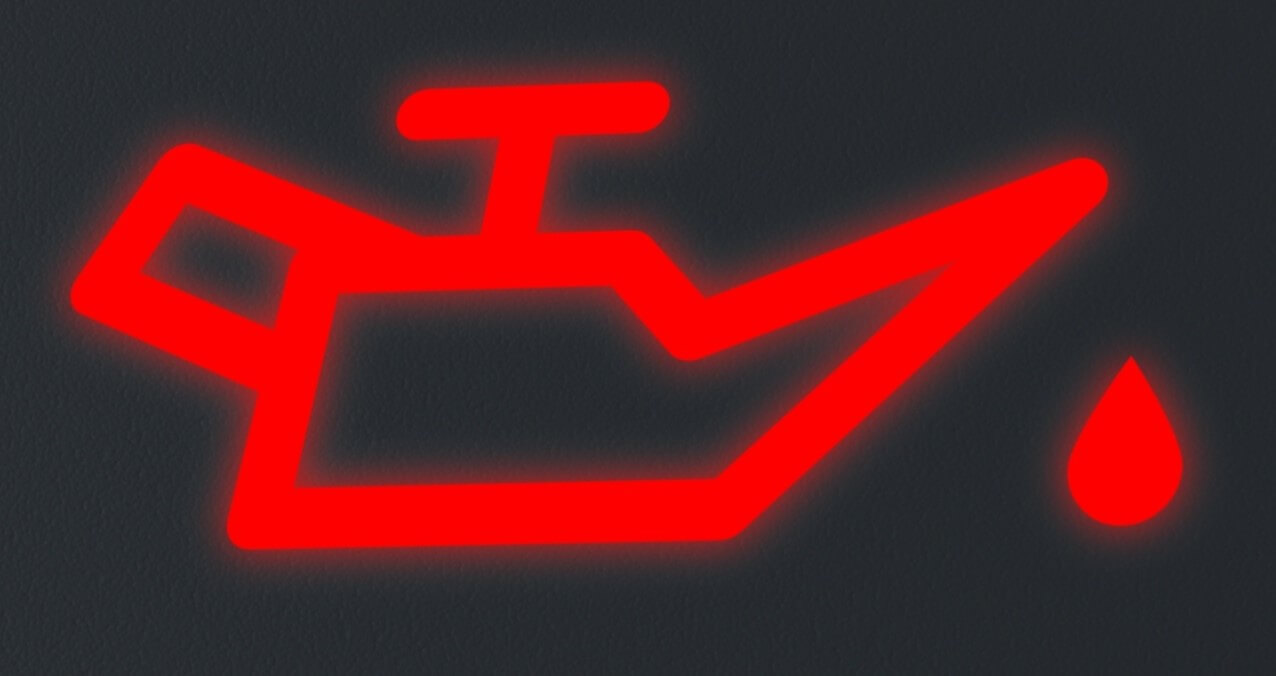 Close up view of oil change warning light