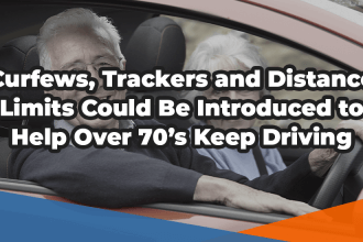 curfews, trackers and distance limits could be introduced to keep over 70's driving in white text over an image of a happy older driver leaning out of grey car window