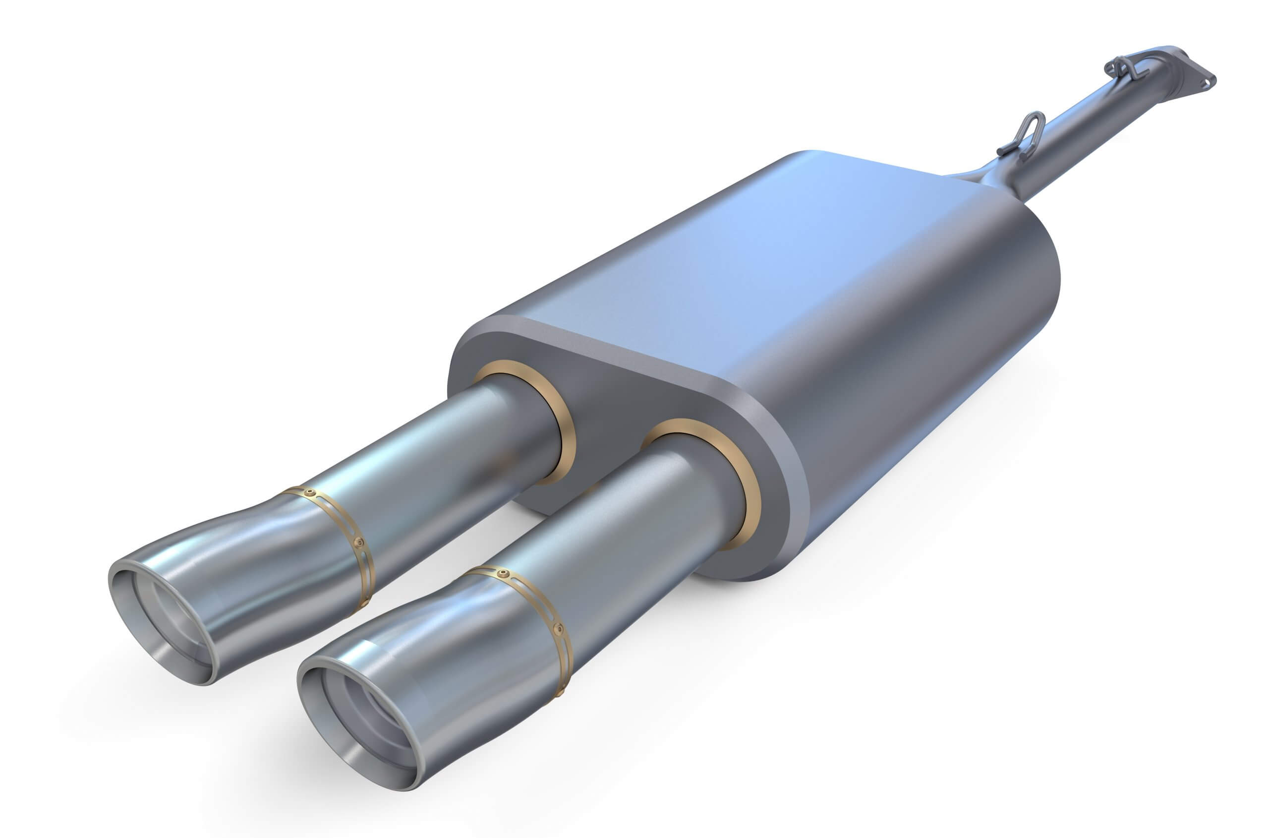 car exhaust pipe housing catalytic converter on white background