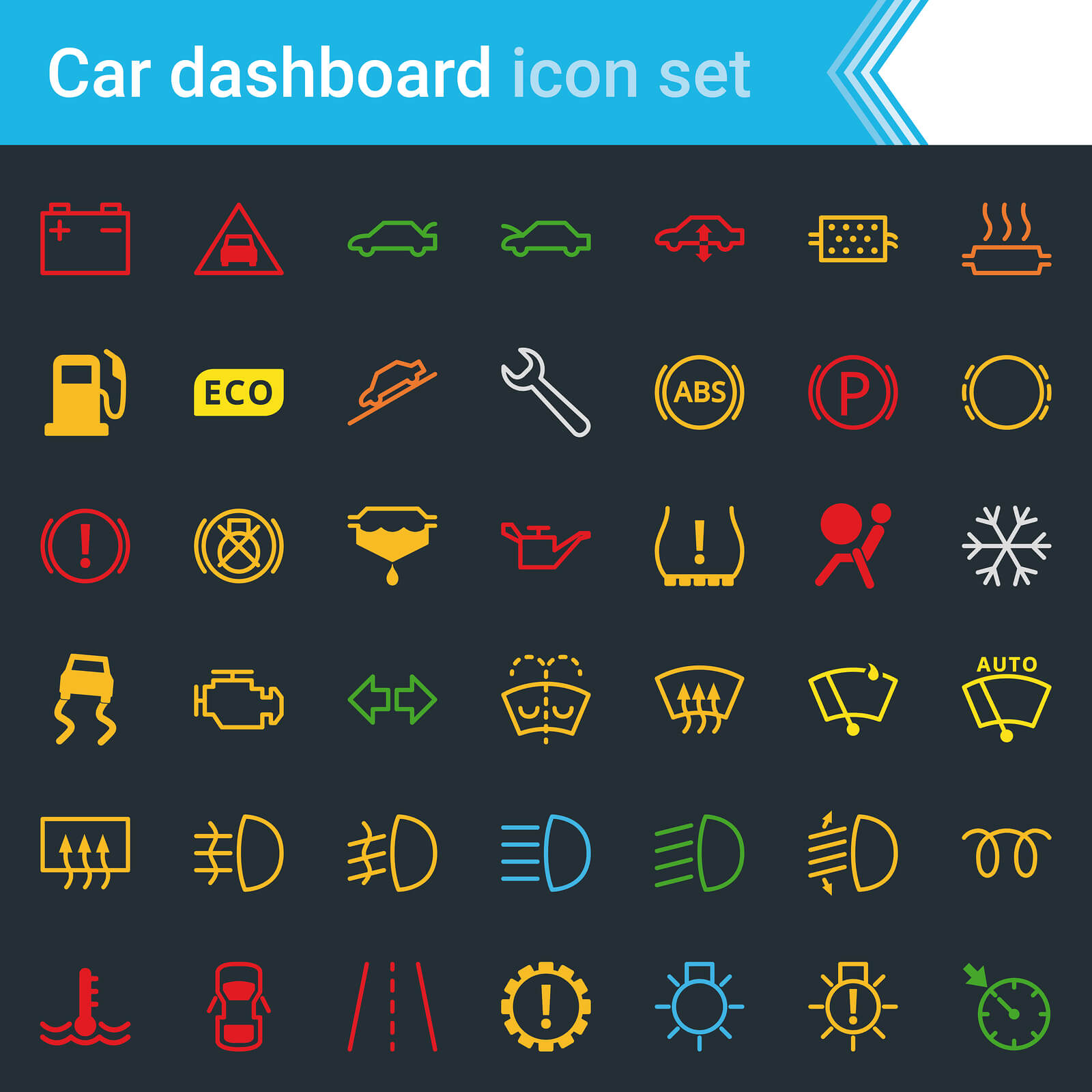 Range of car dashboard warning lights in various colours