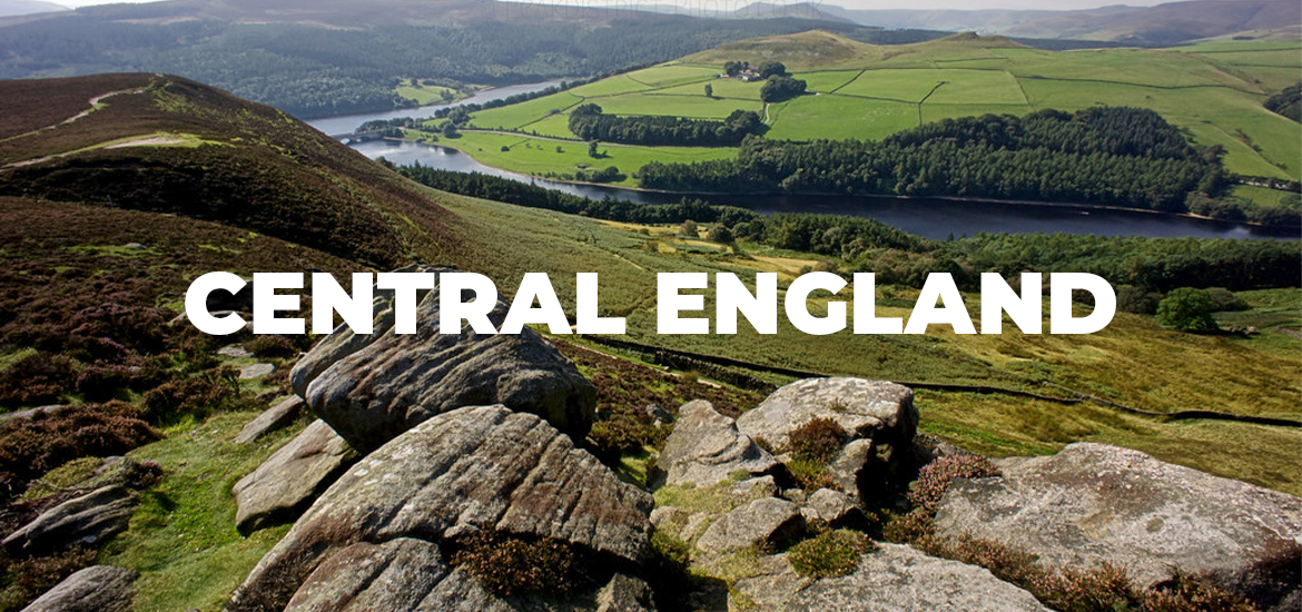 'Central England' in white text over green rolling landscape and rocks atop a hill