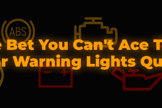 We bet you can't ace this car warning lights quiz in orange text on a black background, various dashboard warning lights in the background