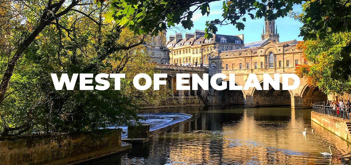 'West of England' in white text over image of stone buildings and inner city river