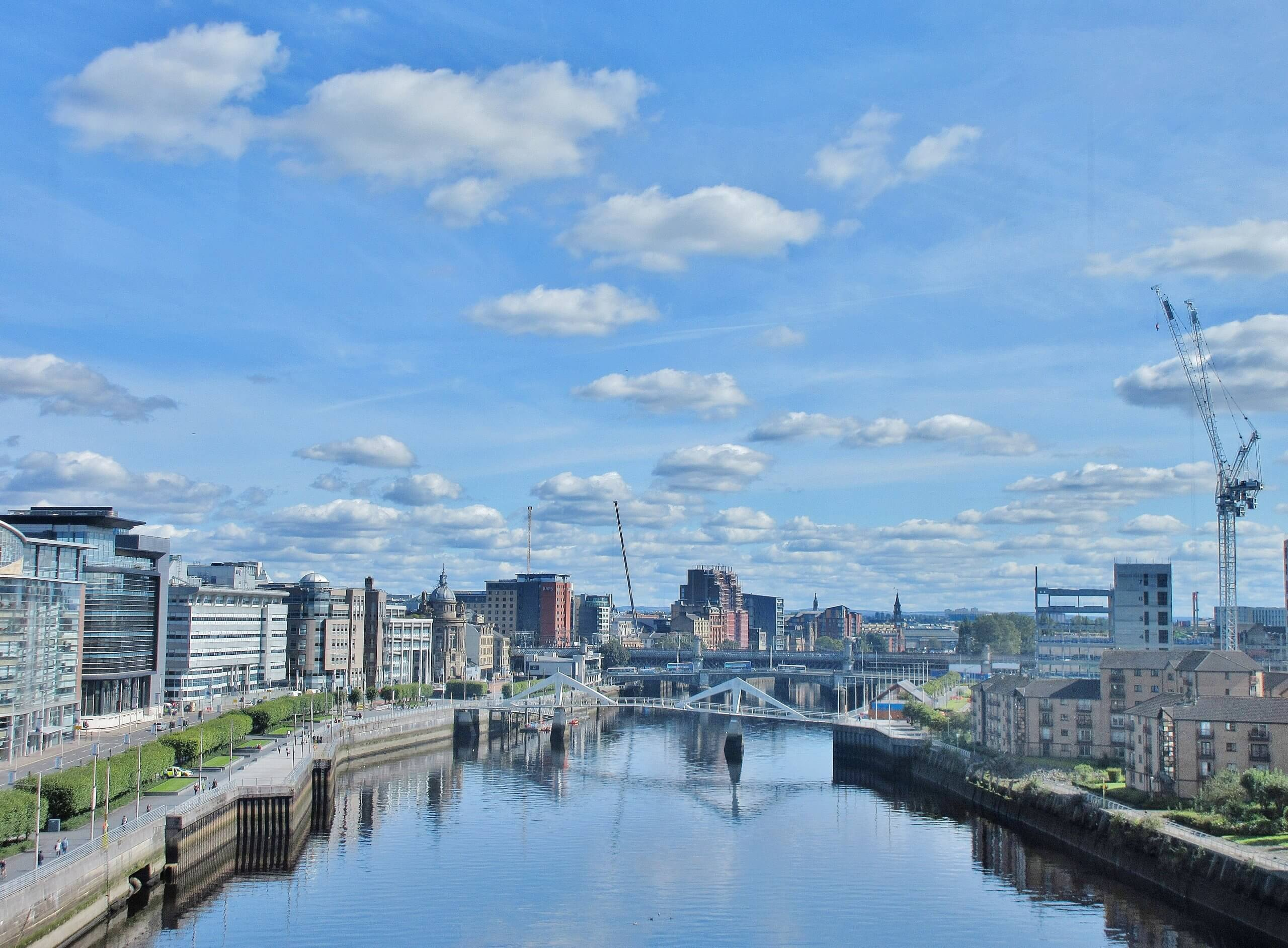 Aerial view of River Clyde, Glasgow, Scotland, UK