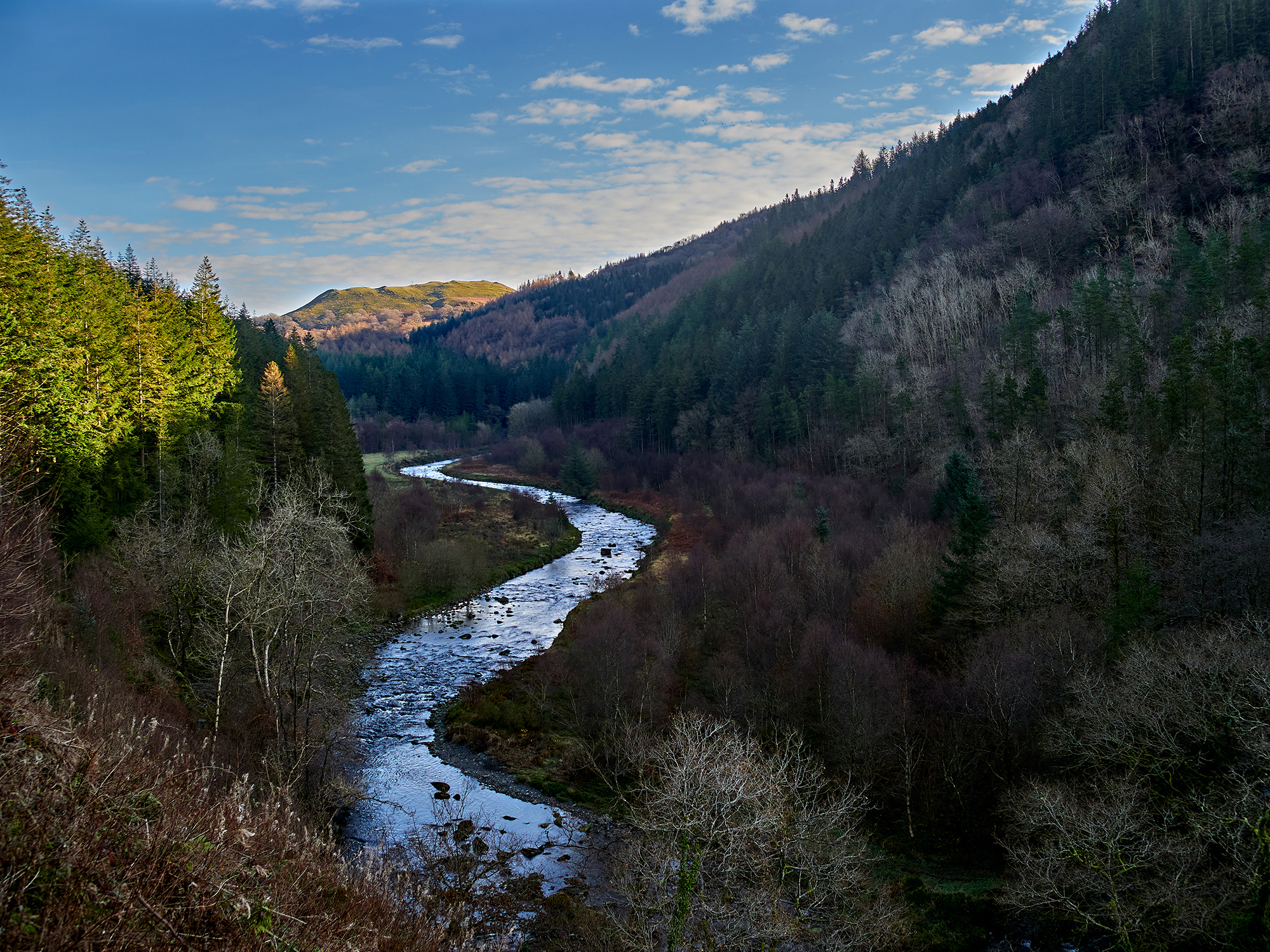 Welsh landscape scene on sunny day with River Ystwyth running through middle of wooded valley