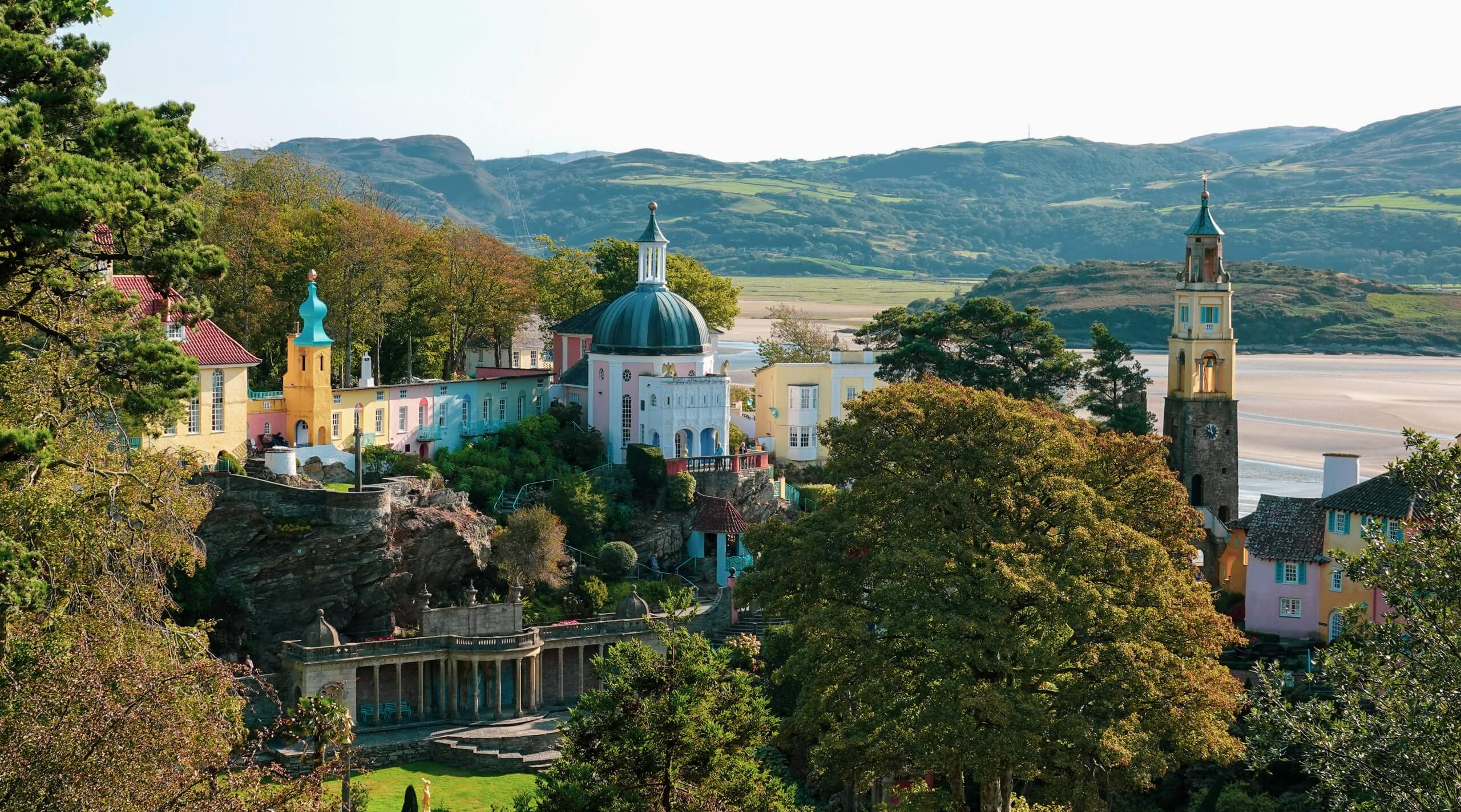Aerial view of Portmeirion, North Wales, UK