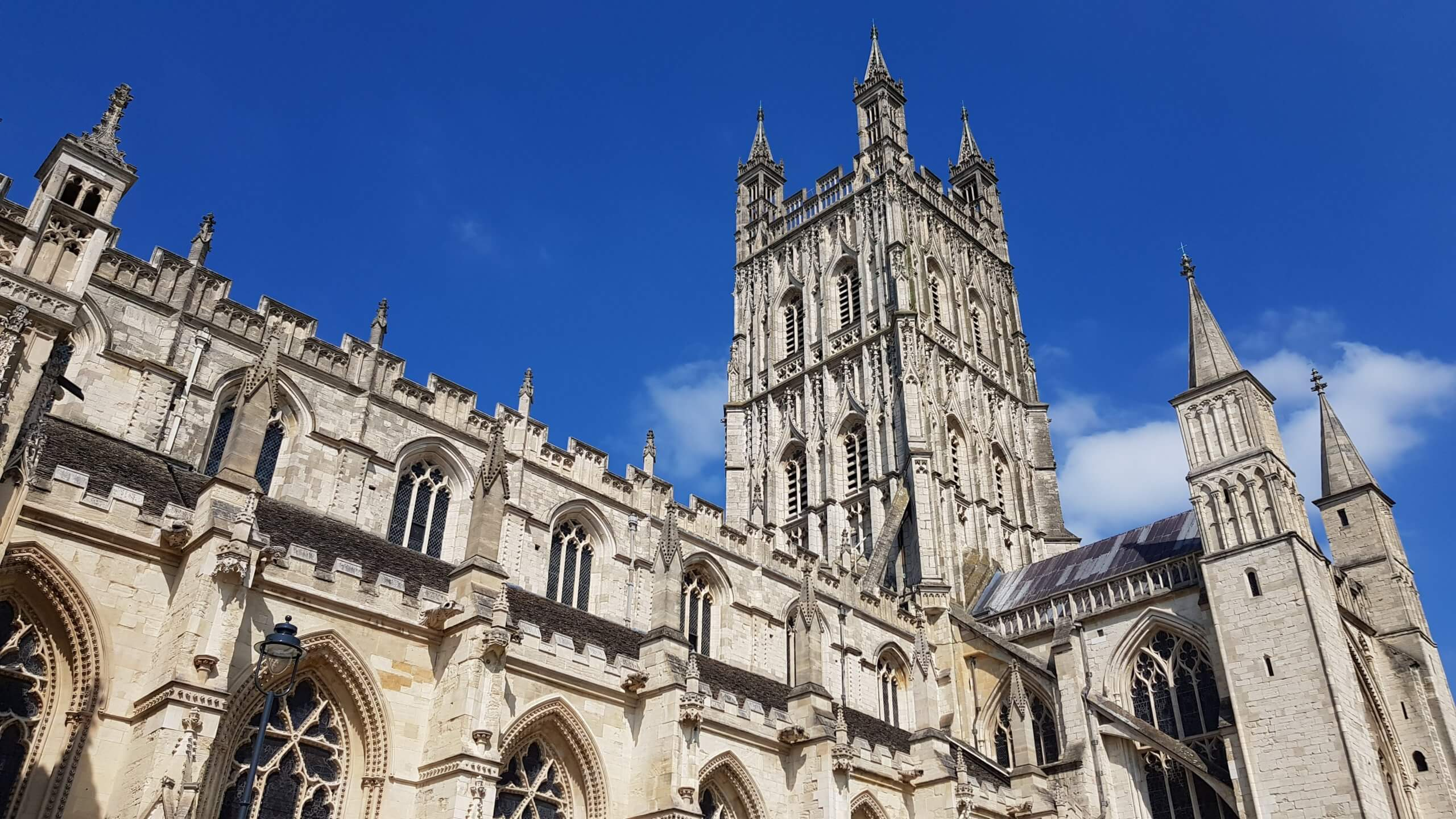 looking up at Gloucester Cathedral, Gloucestershire, UK