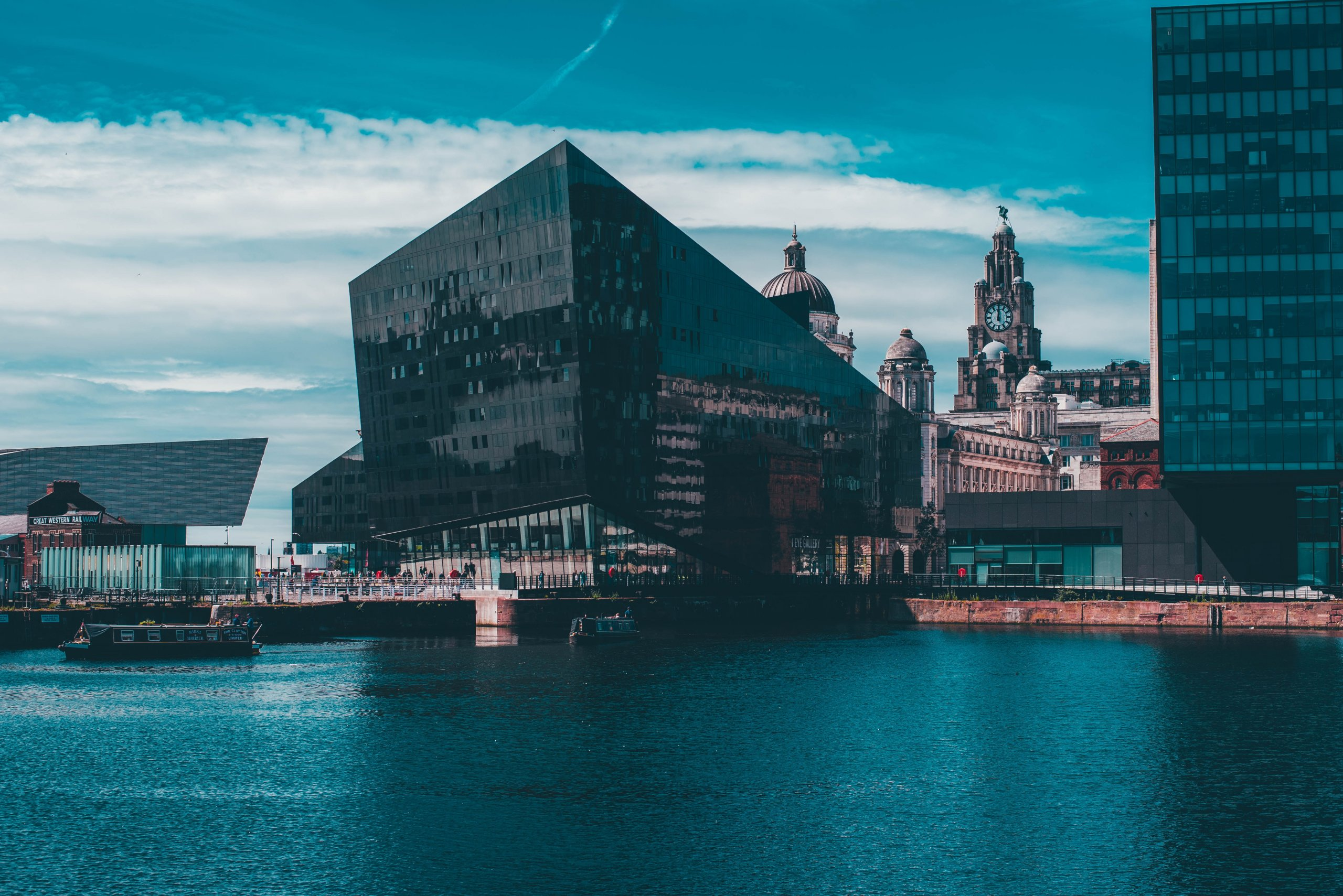 glass building on riverside in Liverpool. UK