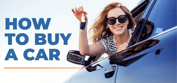 happy woman leaning out of window of car holding keys on sunny day with 'how to buy a car' in blue text on the left hand side