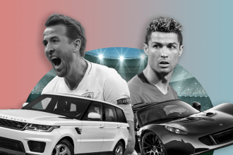 car football representation on pink and blue background with Harry Kane, Cristiano Ronaldo, Range Rover Sport and Hennessey Venom GT