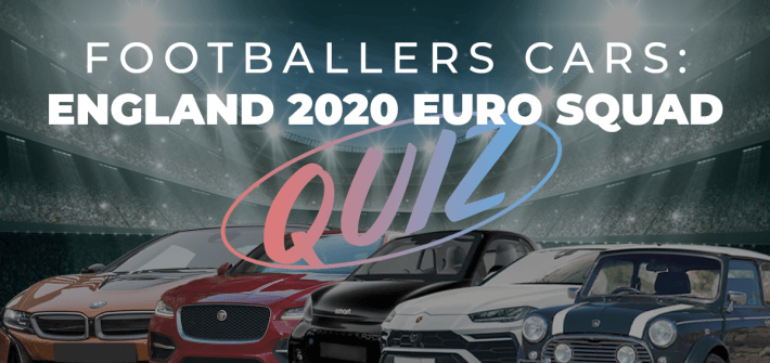 footballers cars england 2020 euro squad quiz over image of football stadium with red, black, orange and white cars lined up in front,