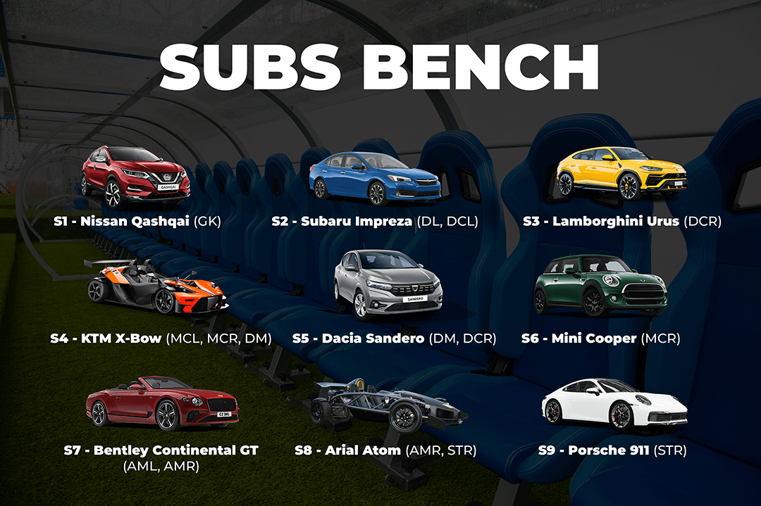 BookMyGarage branded infographic showing the 9 cars included on our car football subs bench over the image of a real football subs bench