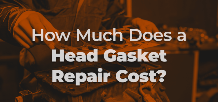 mechanic completing head gasket repair with bronze colouring and 'how much does a head gasket repair cost' in white text over the top