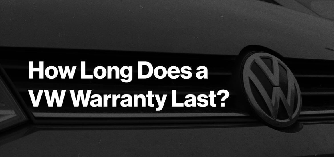 how long does a VW warranty last? in white text over a dark coloured background with close-up image of car grill showing VW logo