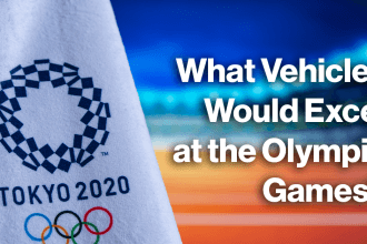 what vehicles would excel at the olympic games? in white text over a blue and orange background with the Tokyo 2020 Olympic logo in the left corner and an athletics stadium in the background