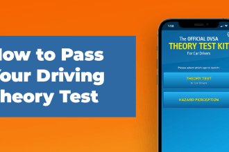 how to pass your driving theory test in white text on a blue rectangle with an orange background and mobile phone screen loaded to the dvsa driving theory test app
