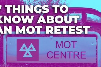 7 things to know about an MOT restest in white text over a purple and green coloured image of an MOT centre sign with a car parked behind it