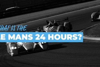 what is the le mans 24 hours? in white and blue text within a light blue box over a black and white image of three LMP1 Le Mans race cars turning a corner on the racetrack